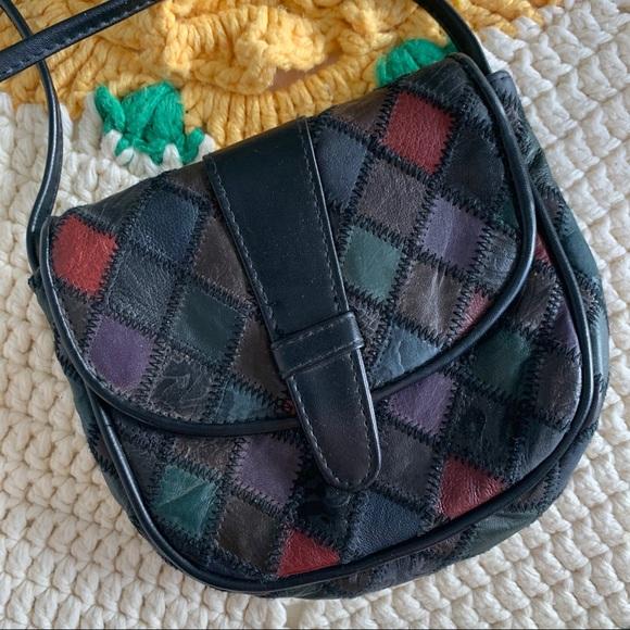 Vintage Genuine Leather Patchwork Crossbody Purse